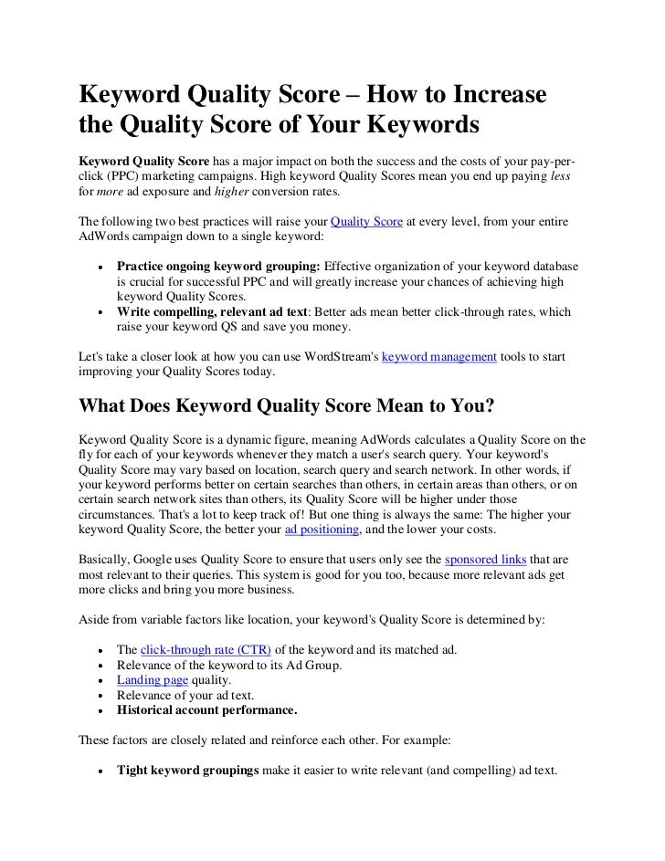 Keyword Quality Score – How to Increase the Quality Score of Your Keywords<br />Keyword Quality Score has a major impact o...