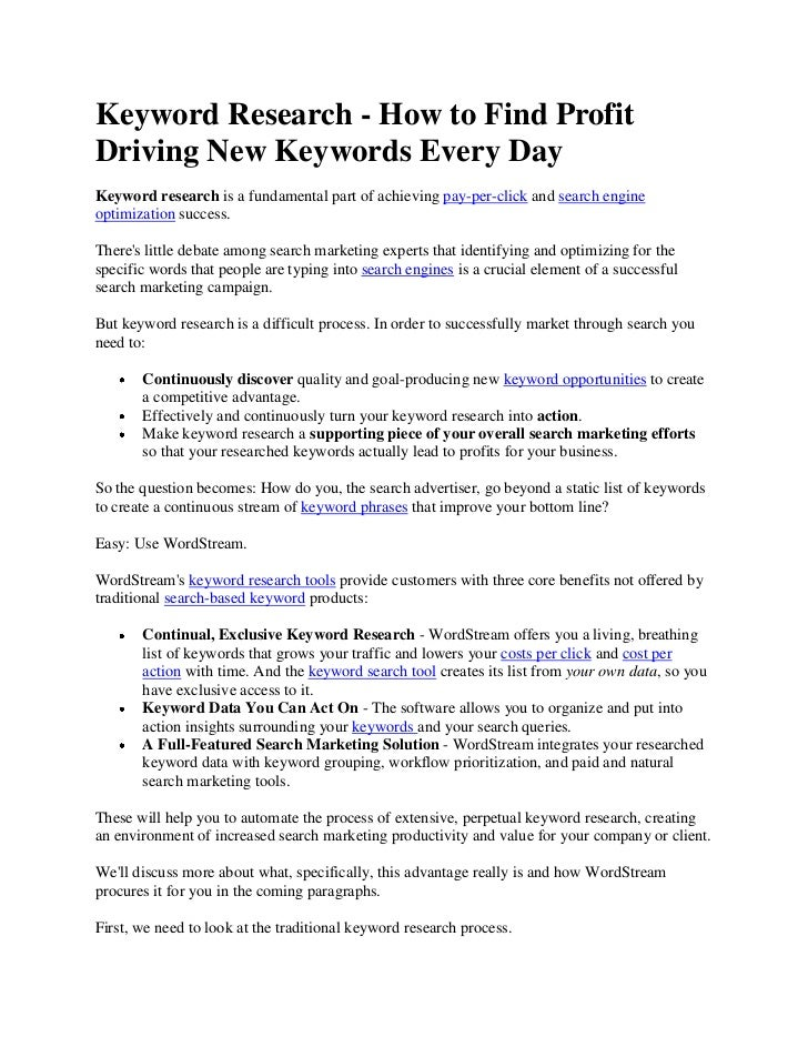 Keyword Research - How to Find ProfitDriving New Keywords Every DayKeyword research is a fundamental part of achieving pay...