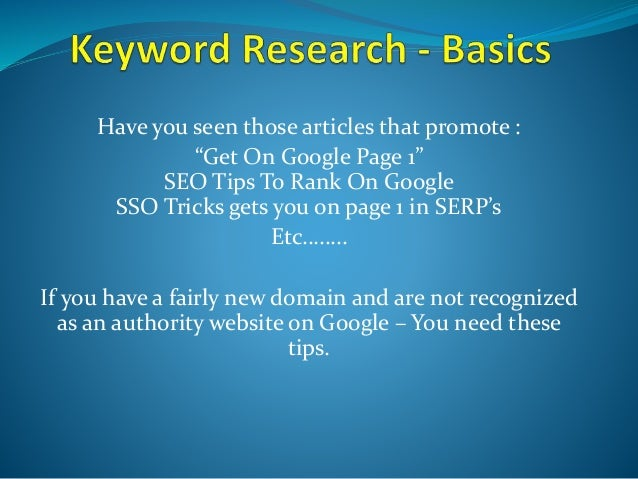 """Have you seen those articles that promote : """"Get On Google Page 1"""" SEO Tips To Rank On Google SSO Tricks gets you on page ..."""