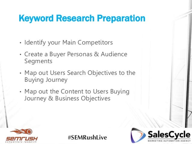 Keyword Research Preparation • Identify your Main Competitors • Create a Buyer Personas & Audience Segments • Map out User...