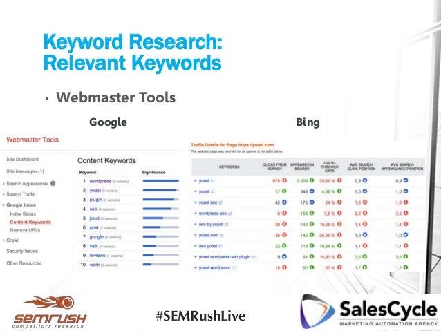 • Webmaster Tools Keyword Research: Relevant Keywords BingGoogle #SEMRushLive