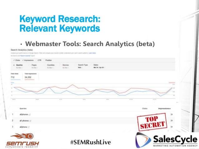• Webmaster Tools: Search Analytics (beta) Keyword Research: Relevant Keywords #SEMRushLive