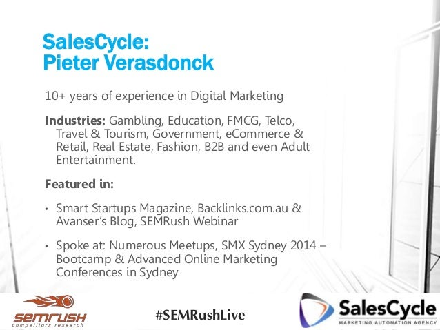 SalesCycle: Pieter Verasdonck 10+ years of experience in Digital Marketing Industries: Gambling, Education, FMCG, Telco, T...