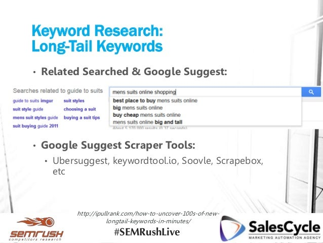 Keyword Research: Long-Tail Keywords • Related Searched & Google Suggest: • Google Suggest Scraper Tools: • Ubersuggest, k...