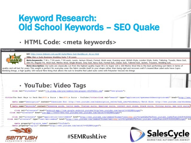 Keyword Research: Old School Keywords – SEO Quake • HTML Code: <meta keywords> • YouTube: Video Tags #SEMRushLive