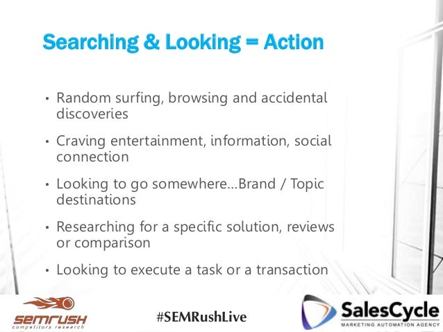 Searching & Looking = Action • Random surfing, browsing and accidental discoveries • Craving entertainment, information, s...