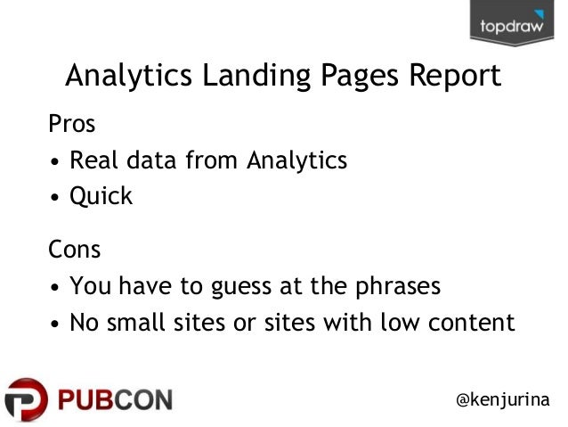 Analytics Landing Pages Report Pros • Real data from Analytics • Quick  Cons • You have to guess at the phrases • No small...