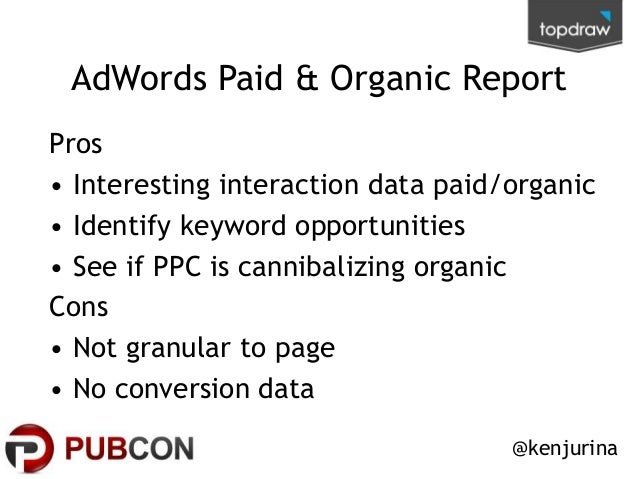 AdWords Paid & Organic Report Pros • Interesting interaction data paid/organic • Identify keyword opportunities • See if P...