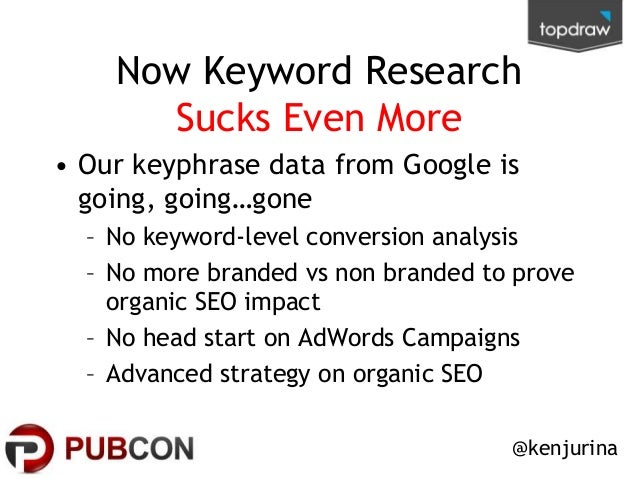 Now Keyword Research Sucks Even More • Our keyphrase data from Google is going, going…gone – No keyword-level conversion a...