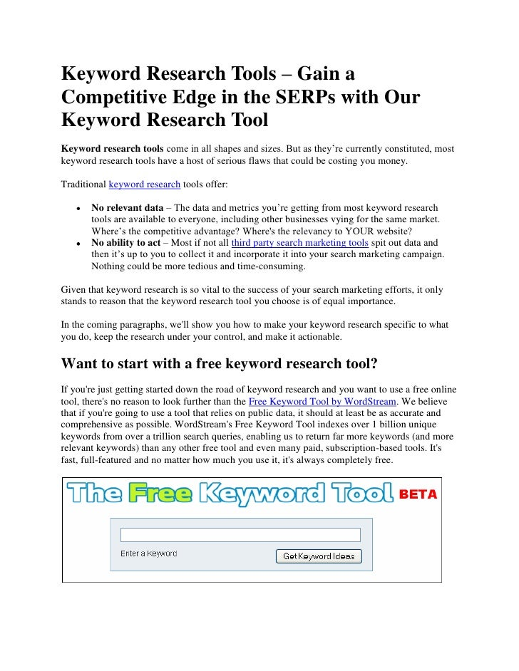 Keyword Research Tools – Gain a Competitive Edge in the SERPs with Our Keyword Research Tool<br />Keyword research tools c...