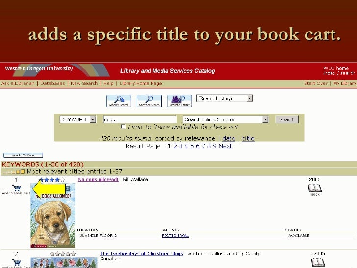 adds a specific title to your book cart.