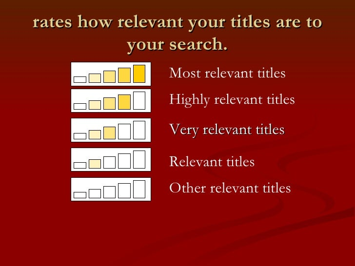 rates how relevant your titles are to your search. <ul><li>Very relevant titles </li></ul>Highly relevant titles Most re...