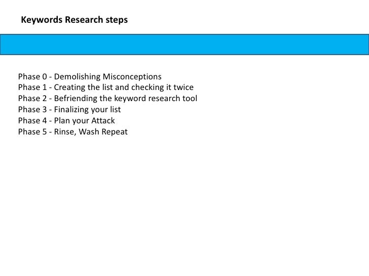 Keywords Research stepsPhase 0 - Demolishing MisconceptionsPhase 1 - Creating the list and checking it twicePhase 2 - Befr...