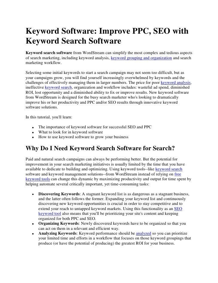 Keyword Software: Improve PPC, SEO with Keyword Search Software <br />Keyword search software from WordStream can simplify...