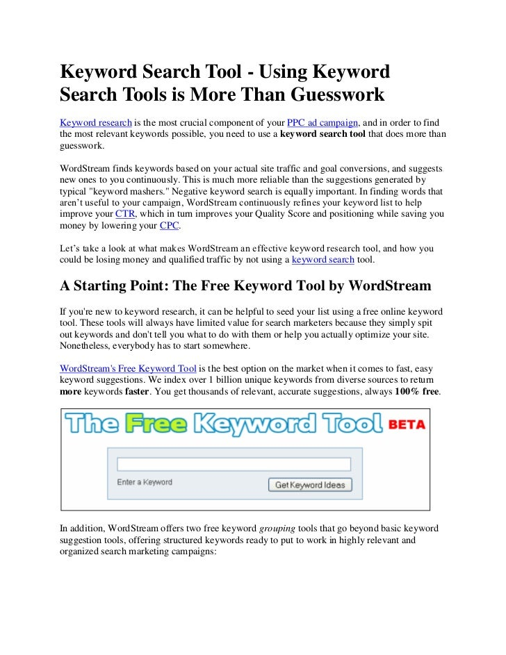 Keyword Search Tool - Using KeywordSearch Tools is More Than GuessworkKeyword research is the most crucial component of yo...