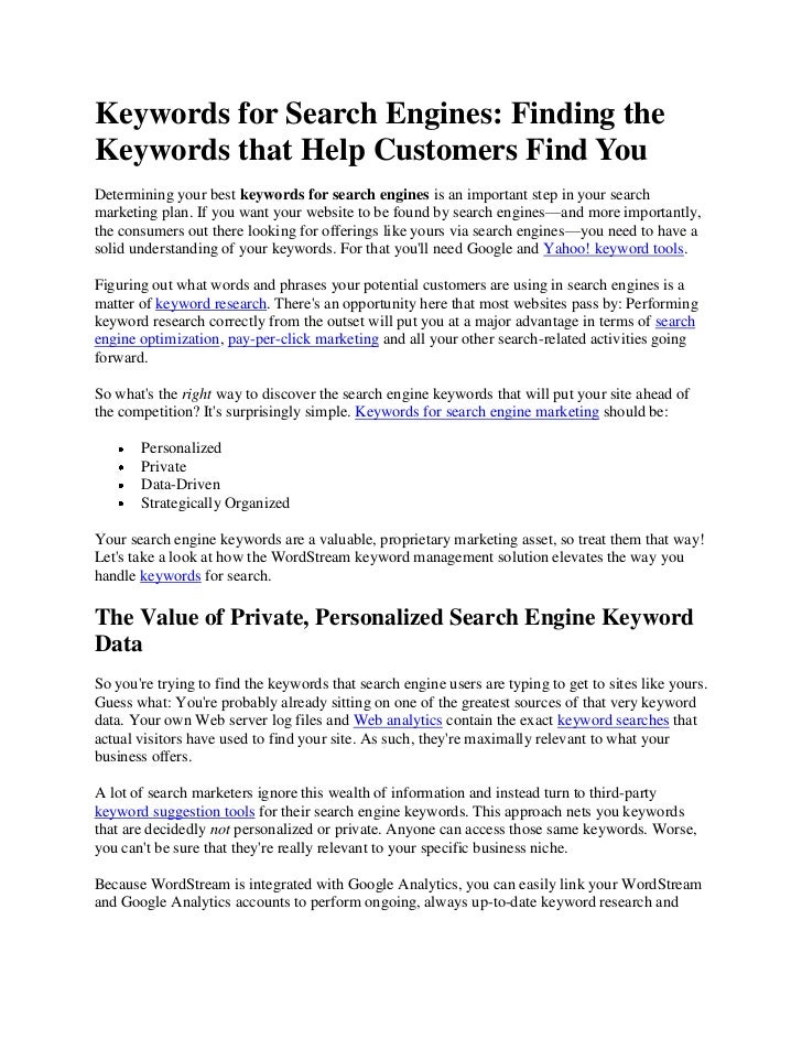 Keywords for Search Engines: Finding theKeywords that Help Customers Find YouDetermining your best keywords for search eng...