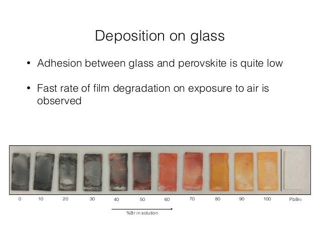 Deposition on glass  • Adhesion between glass and perovskite is quite low  • Fast rate of film degradation on exposure to ...
