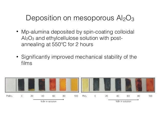 Deposition on mesoporous Al2O3  • Mp-alumina deposited by spin-coating colloidal  Al2O3 and ethylcellulose solution with p...