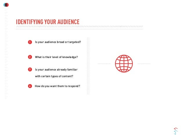 123Is your audience broad or targeted?What is their level of knowledge?Is your audience already familiarwith certain types...