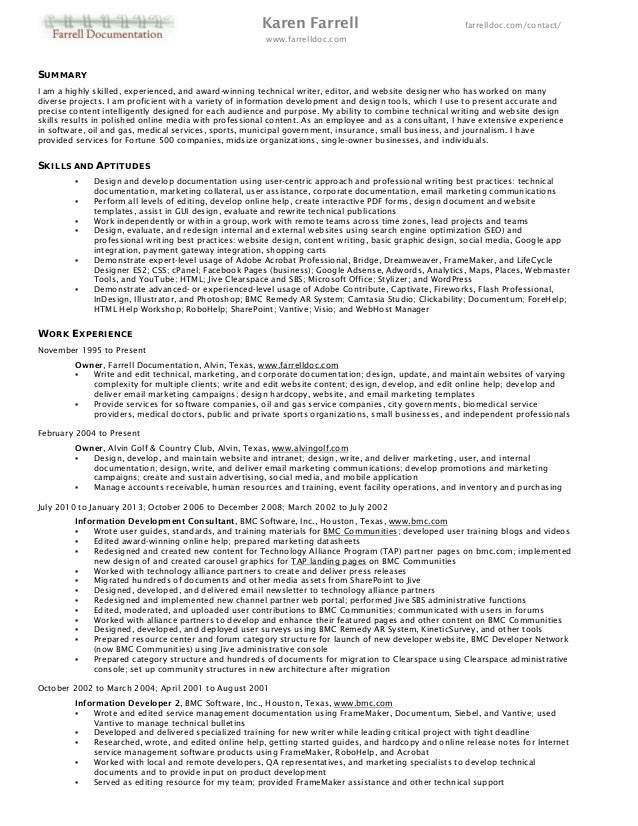 Professional Resume Of Karen Farrell. Karen Farrell ...  What A Professional Resume Looks Like