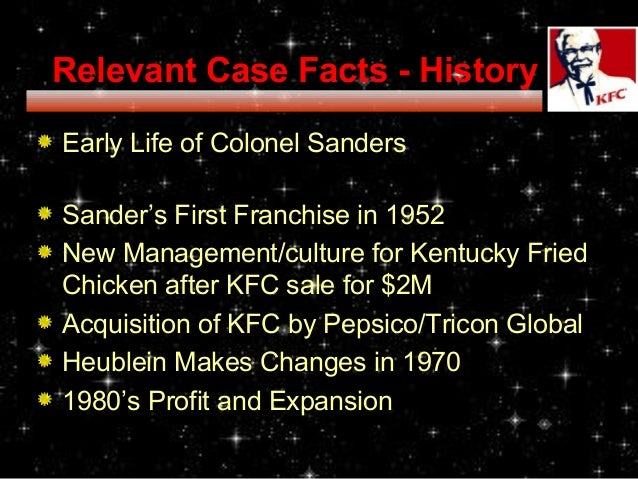 case study kentucky fried chicken Kentucky fried chicken and the global fast-food industry case analysis 10 source problem the change in demographic trends in the past two decades has seen an overall increase in costs for kfc and other fast food chains.