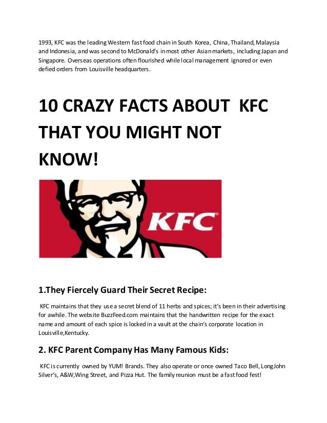 pest analysis for kfc A pestle analysis of fast food industry  the fast food brands like mcdonalds,  kfc, dominos, subway and wendy's have focused on.