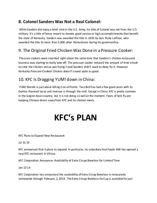 kfc report So the main three reasons why kfc stands out as my favorite fast food restaurant is because of the service provided, the affordable prices, and of course the great.