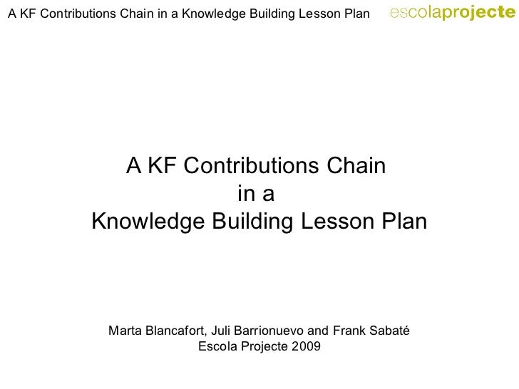 A KF Contributions Chain  in a  Knowledge Building Lesson Plan Marta Blancafort, Juli Barrionuevo and Frank Sabaté Escola ...
