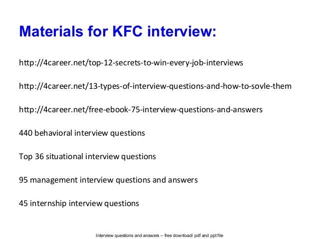 Kfc interview questions and answers
