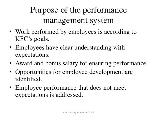 performance appraisal of kfc s employee And judgment are a kind of performance appraisal the only difference  employee onboarding – where india's skills gap manifests  business performance: kfc.