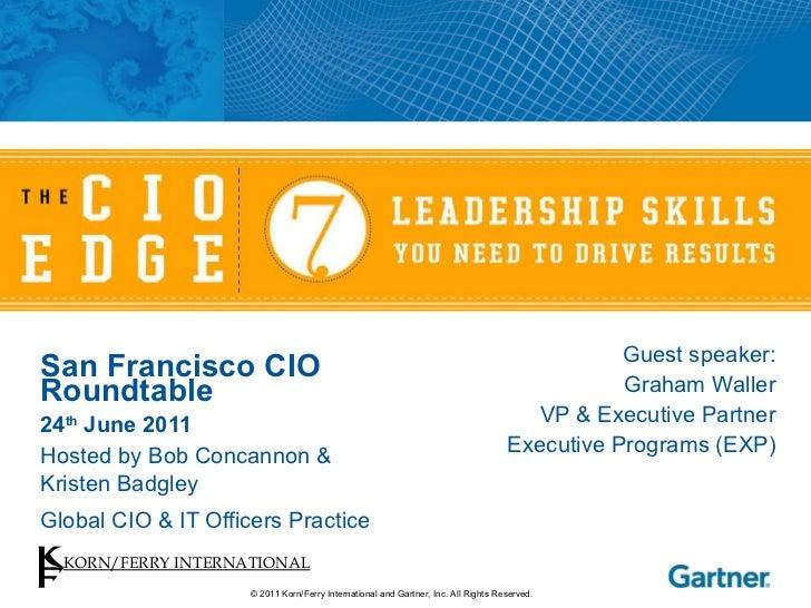 San Francisco CIO Roundtable 24 th  June 2011 Hosted by Bob Concannon &  Kristen Badgley Global CIO & IT Officers Practice...