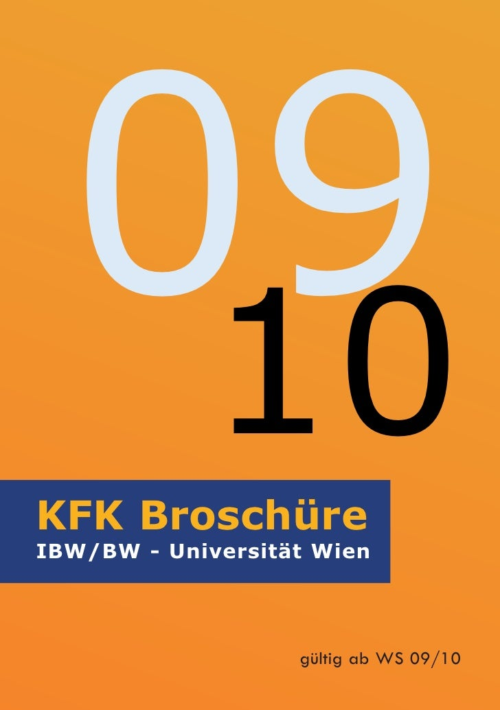 09    10 KFK Broschüre IBW/BW - Universität Wien                        gültig ab WS 09/10
