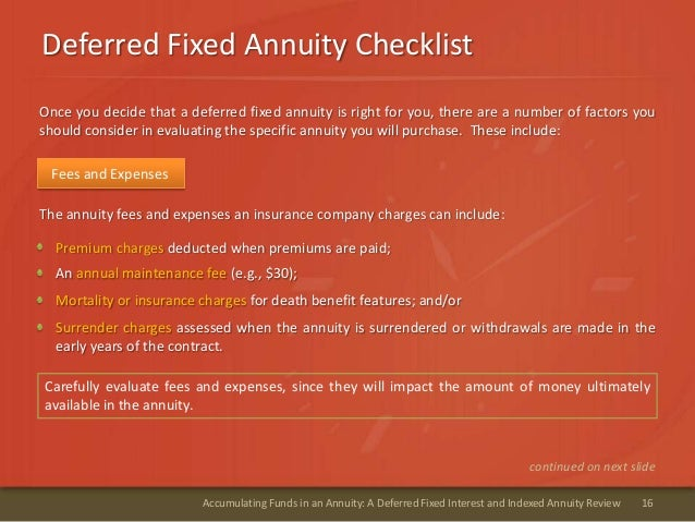 Deferred Fixed Annuity Checklist16Accumulating Funds in an Annuity: A Deferred Fixed Interest and Indexed Annuity ReviewAn...