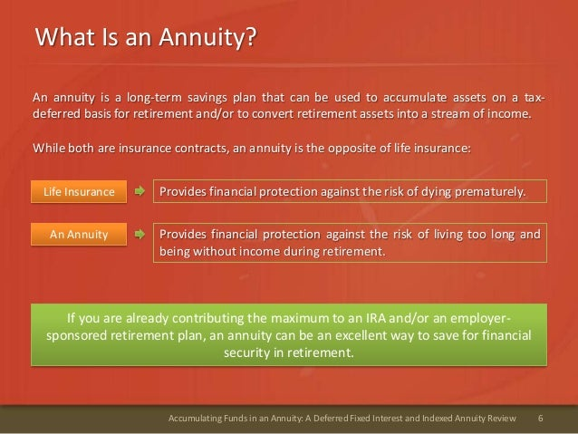What Is an Annuity?6Accumulating Funds in an Annuity: A Deferred Fixed Interest and Indexed Annuity ReviewAn annuity is a ...