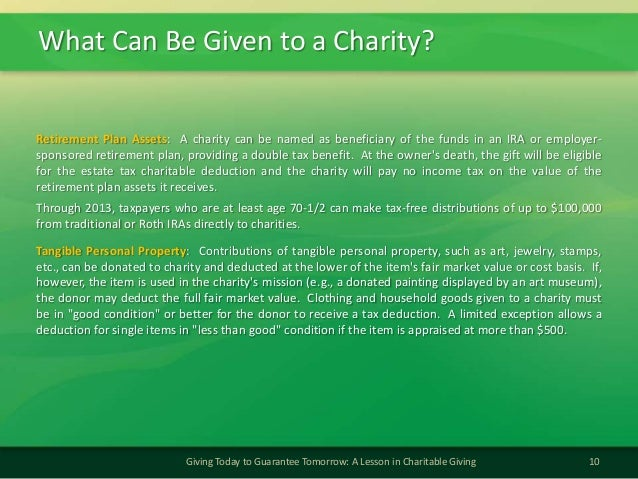 What Can Be Given to a Charity?10Giving Today to Guarantee Tomorrow: A Lesson in Charitable GivingRetirement Plan Assets: ...