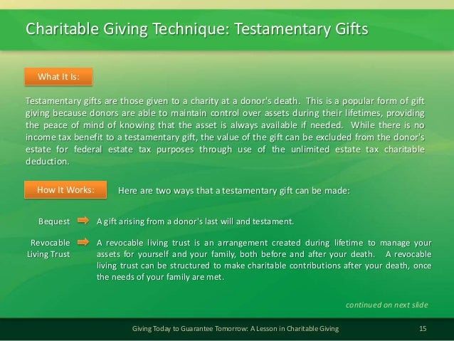 Charitable Giving Technique: Testamentary Gifts15Giving Today to Guarantee Tomorrow: A Lesson in Charitable GivingTestamen...