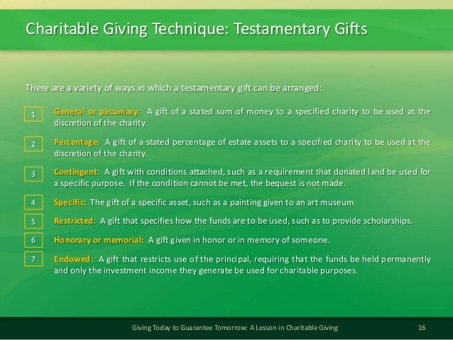 Charitable Giving Technique: Testamentary Gifts16Giving Today to Guarantee Tomorrow: A Lesson in Charitable GivingThere ar...