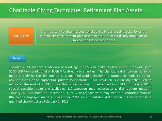 Charitable Giving Technique: Retirement Plan Assets19Giving Today to Guarantee Tomorrow: A Lesson in Charitable GivingIt i...