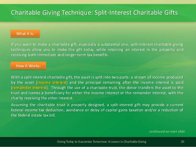 Charitable Giving Technique: Split-Interest Charitable Gifts20Giving Today to Guarantee Tomorrow: A Lesson in Charitable G...