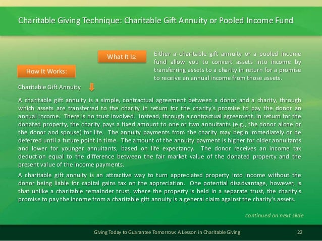 Charitable Giving Technique: Charitable Gift Annuity or Pooled Income Fund22Giving Today to Guarantee Tomorrow: A Lesson i...