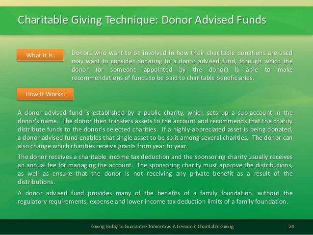 Charitable Giving Technique: Donor Advised Funds24Giving Today to Guarantee Tomorrow: A Lesson in Charitable GivingDonors ...