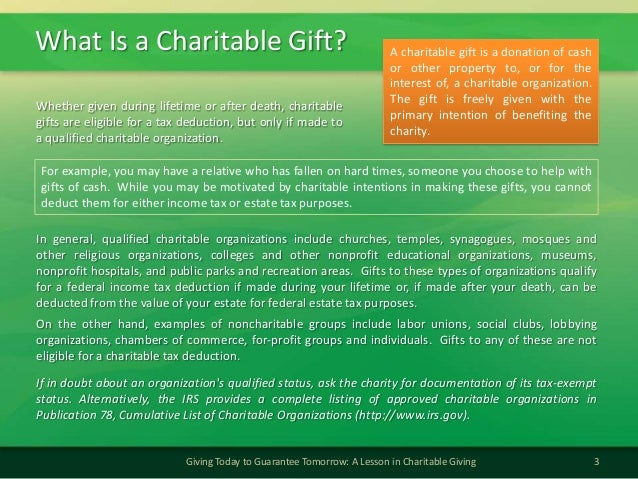 What Is a Charitable Gift?3Giving Today to Guarantee Tomorrow: A Lesson in Charitable GivingIn general, qualified charitab...