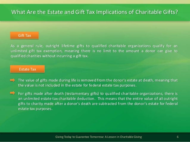 What Are the Estate and Gift Tax Implications of Charitable Gifts?6Giving Today to Guarantee Tomorrow: A Lesson in Charita...