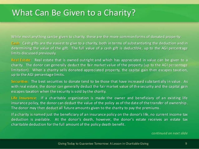 What Can Be Given to a Charity?9Giving Today to Guarantee Tomorrow: A Lesson in Charitable GivingWhile most anything can b...