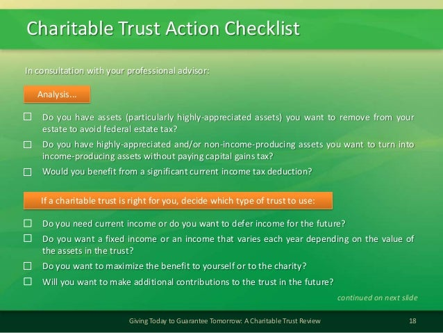 Charitable Trust Action Checklist18Giving Today to Guarantee Tomorrow: A Charitable Trust ReviewDo you have assets (partic...