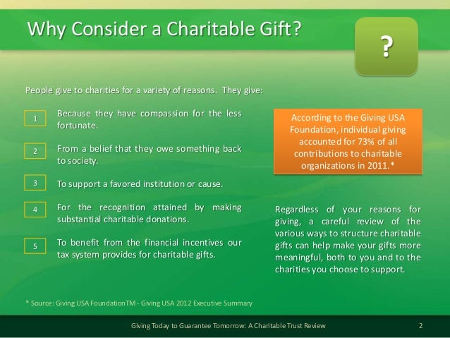 Why Consider a Charitable Gift?2Giving Today to Guarantee Tomorrow: A Charitable Trust ReviewPeople give to charities for ...