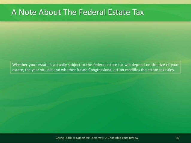 A Note About The Federal Estate Tax20Giving Today to Guarantee Tomorrow: A Charitable Trust ReviewWhether your estate is a...