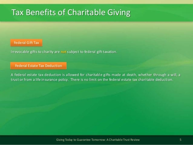 Tax Benefits of Charitable Giving5Giving Today to Guarantee Tomorrow: A Charitable Trust ReviewFederal Gift TaxIrrevocable...