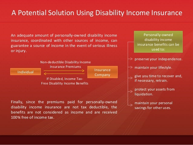 A Potential Solution Using Disability Income InsuranceAn adequate amount of personally-owned disability incomeinsurance, c...