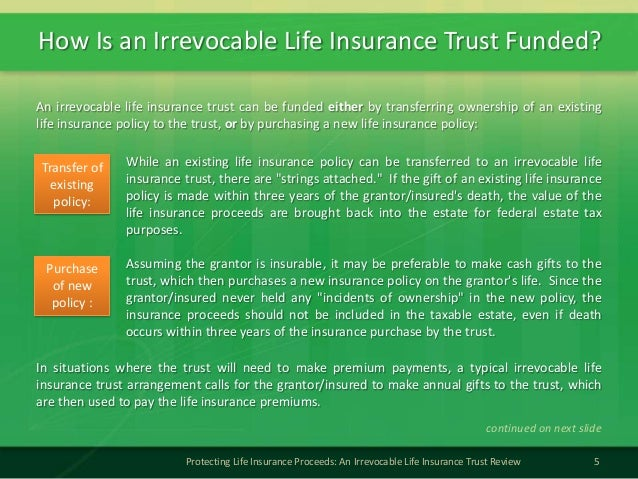 How Is an Irrevocable Life Insurance Trust Funded?5Protecting Life Insurance Proceeds: An Irrevocable Life Insurance Trust...